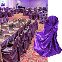 wholesale 10pcs  purple satin universal chair cover for wedding  SELF TIE CHAIR COVER FOR RESTAURANT(China (Mainland))