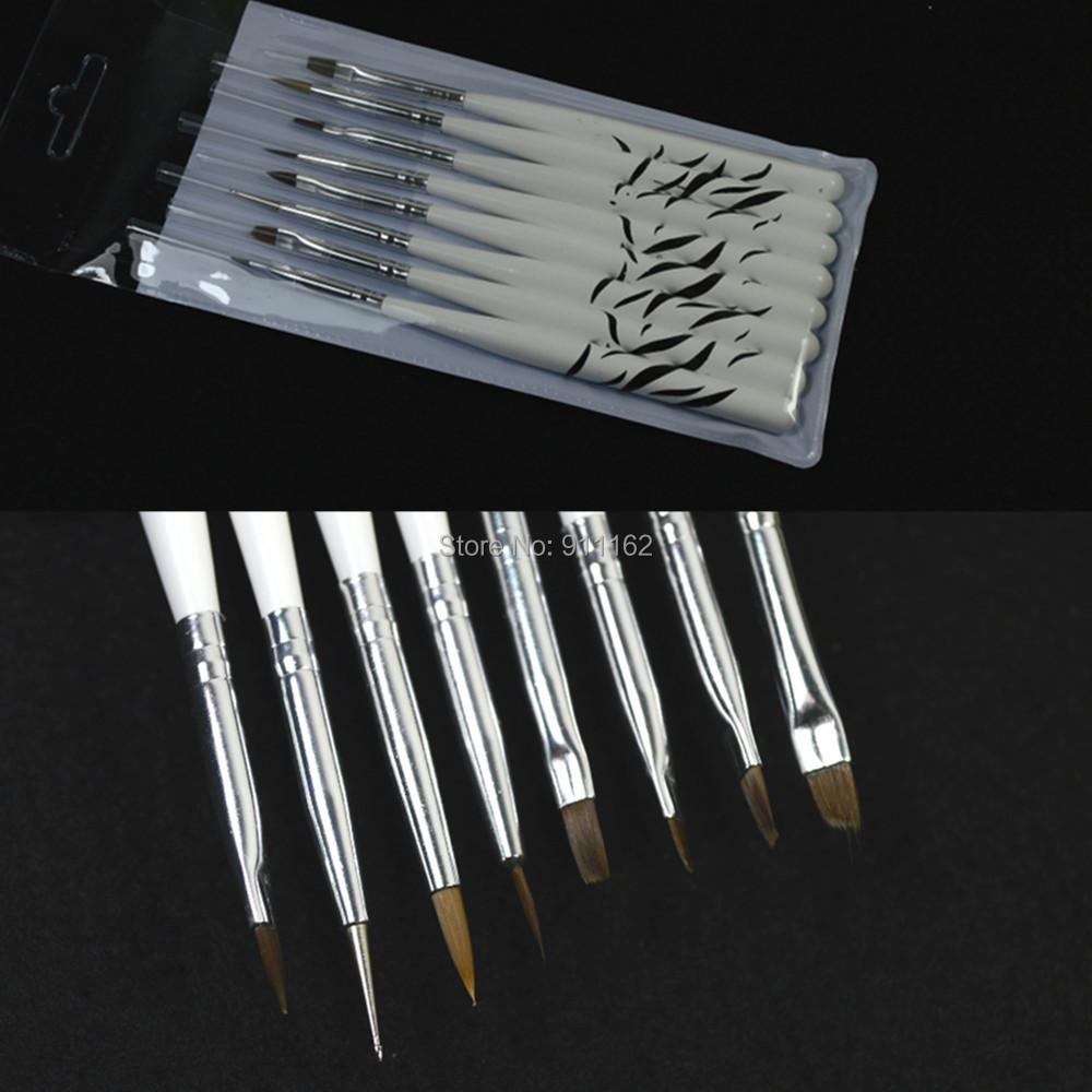 8pcs/sets Polish UV Gel Nail Art Brush Kit Pro Painting Drawing Paint Dotting Rhinestones Liner Pen Manicure Tools NAO22 - & Beauty Salon store