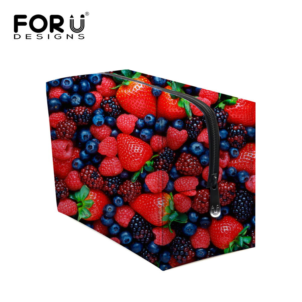 Fashion Casual Strawberry Print Decoration Makeup Case Women Brand Large Cosmetic Bags Travel Storage Bag Neceser Para Mujer(China (Mainland))