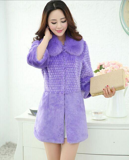 Plus Size Women Winter Coat 2015 Casaco De Pele Falso Rabbit Fur Faux Fur Coat Three Quarter Sleeve Medium-long Slim Jacket X676(China (Mainland))