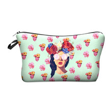 Zohra 2016 New 3D Printing Makeup Bags With Multicolor Pattern Cute Cosmetics Pouchs For Travel Ladies Pouch Women Cosmetic Bag