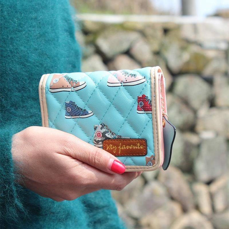 Popular Plaid Short Women Wallets Printing Women Change Purse Korea Style Wallet Zipper Packet Football Pendant Coin Purse(China (Mainland))