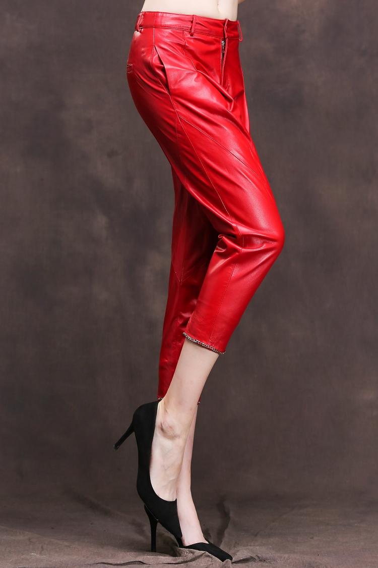 Высокая Мода Кожаные Женские Брюки