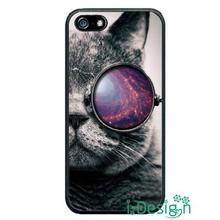 Fit for Samsung Galaxy mini S3/4/5/6/7 edge plus+ Note2/3/4/5 back skins cellphone case cover Cat Glasses