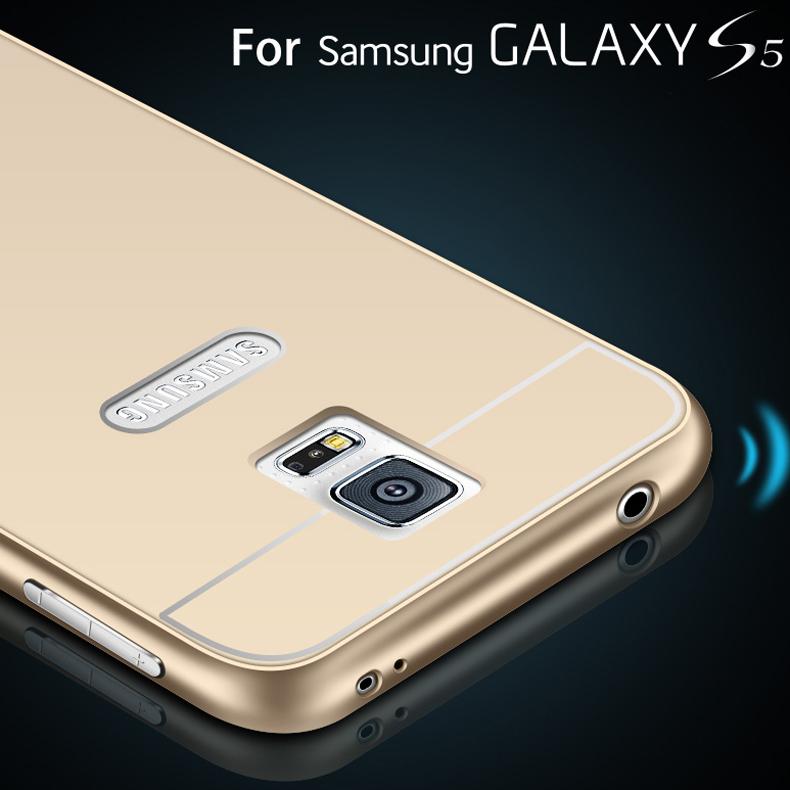 S5 Metal Aluminum +Acrylic Back Capa Case For Samsung Galaxy S5 SV i9600 Luxury Hybrid Hard Armor Cover Hole For Samsung Logo(China (Mainland))