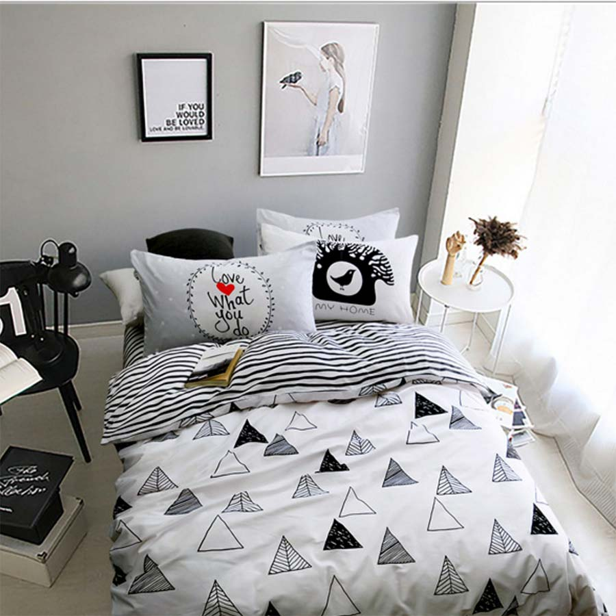 Bed sheet set black and white - Black White Geometric Bed Set Cotton Teen Kid Twin Full Queen King Single Double Home Textile Flat Sheet Pillow Case Duvet Cover
