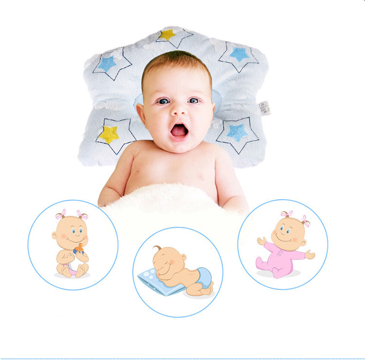 Cartoon Star Shape Newborn infant memory foam pillow neck protection baby care bedding set concave massage sleeping pillow(China (Mainland))