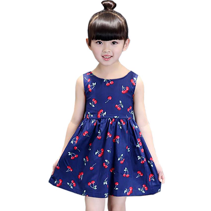 2 11 ages 2016 Summer Girl Dress Casual Dresses Girls Clothes Printing Floral Sleeveless Dress Dress
