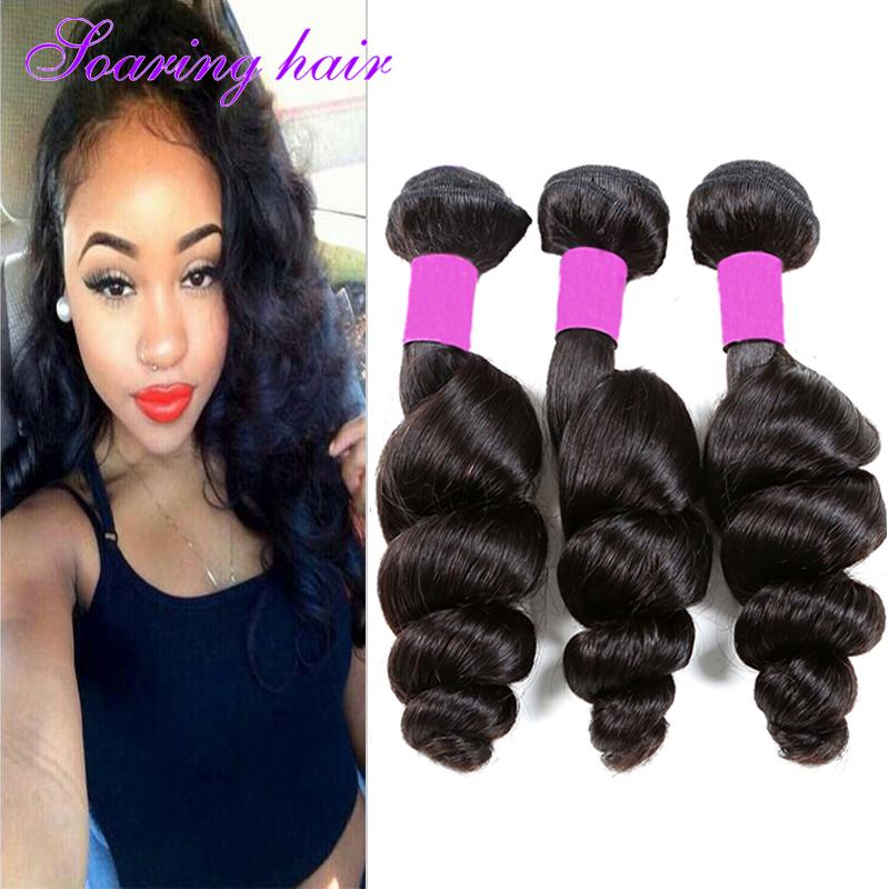 Здесь продается  7A Peruvian Virgin Hair Loose Wave 3Bundles 100g Stema Bresilienne Loose Wave Virgin Human Hair Extensions Crochet Tissage #1B  Волосы и аксессуары