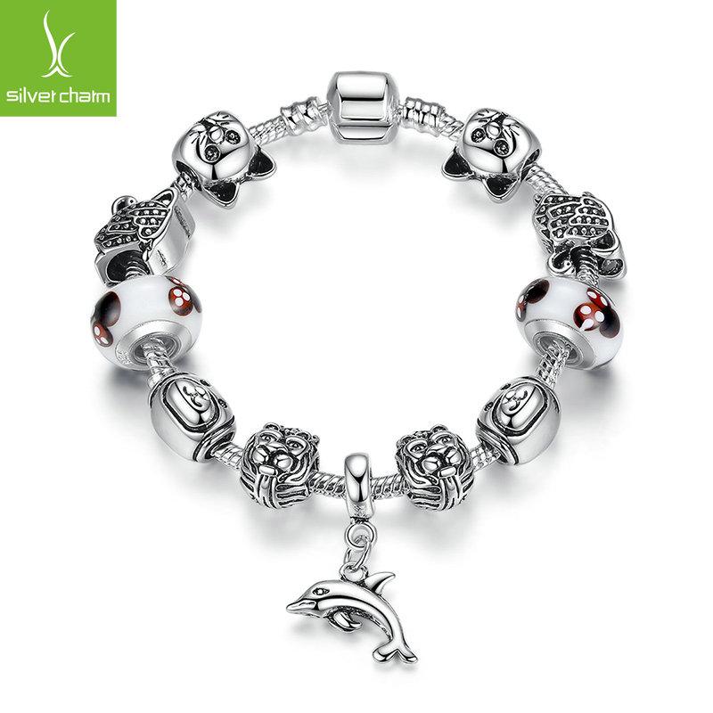 High Quality 925 Silver Cat Dog Animal Charm Bracelet & Bangle For Women Fashion Original DIY Minnie Beads Jewelry Pulseira Gift(China (Mainland))