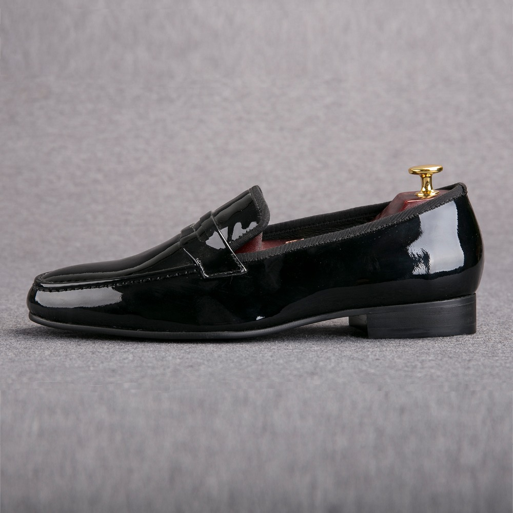Classic Designed Black Patent Leather Shoes Men Party and Wedding Loafers Men Flats Size US 6-14 Free shipping<br><br>Aliexpress