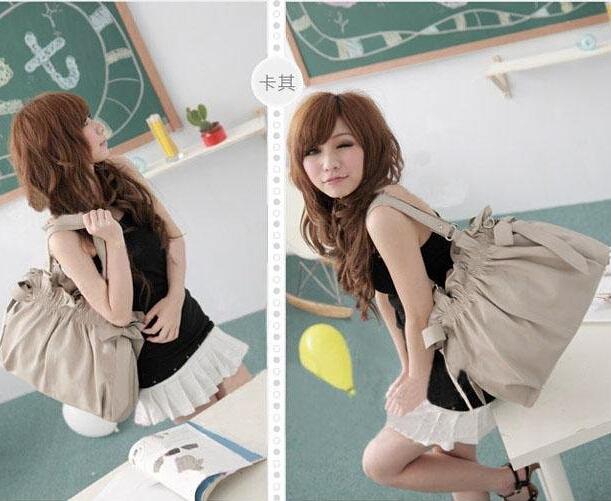 Cheap Products  Side Bowknots  Hotsale Woman Handbags Hobo Tote Purse  Products  S028(China (Mainland))