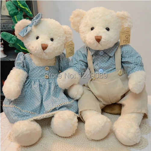 50 cm 2 pieces couple teddy bear with clothes stuffed animal toy high quality wedding gift valentine gift(China (Mainland))