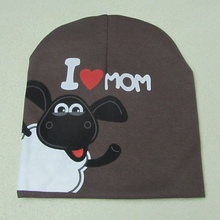 High Quality Spring Baby Hat Fall Hats For Children Knitted Shaun Sheep Newborn Photography Props I love Mon Dad Baby Cap BH62(China (Mainland))