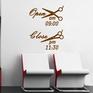 Open time hair spa beauty salon bar pub shop nail art wall for Abrir un salon de belleza