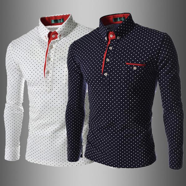 Compre Al Por Mayor Camisa De Los Hombres De La Moda Británica Polka ... b98ce004f85d6
