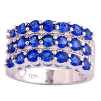 Wholesale Stylish Elegant Round Cut Sapphire Quartz 925 Silver Ring Size 7 8 9 10 New