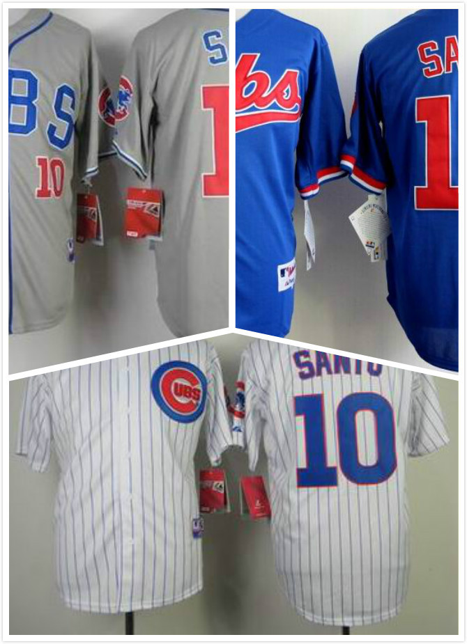 Ron Santo Jersey #10 Cheap Chicago Cubs Jerseys White Gray Throwback Baseball Jersey Stitched Free Shipping<br><br>Aliexpress