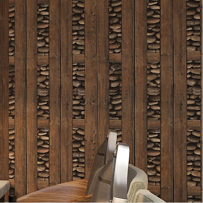 Chinese Retro 3d Wood Wallpaper Pvc Wood Wall Covering For