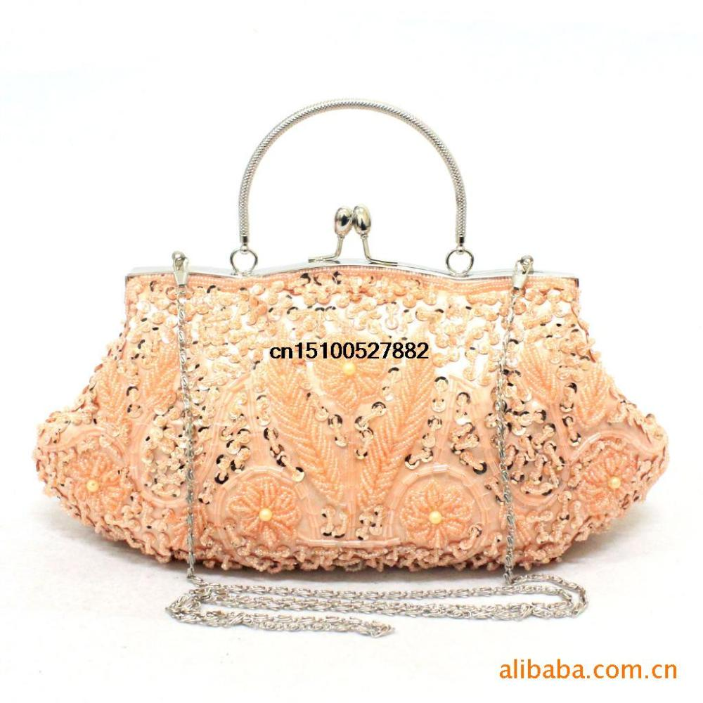 new wedding package Chaozhou moonlight flower beaded evening bag clutch handbag retro style bridesmaid package between India(China (Mainland))