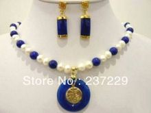 A0503 Wholesale price Fast shipping + aBeautiful! blue jade AA Natural pearl necklace earring set (0430)(China (Mainland))