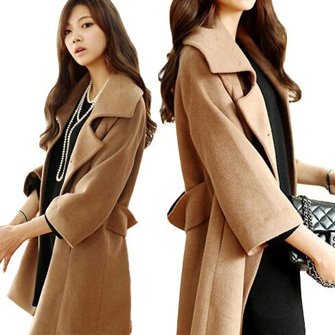 Women Long Coat Winter Woolen Coat Plus Size XXXL Double-breasted Jacket Women Outerwear