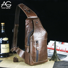 2016 New Arrival Fashion Genuine Leather Chest Pack Brand Design Casual Men Messenger Bags Vintage Small Shoulder Bags bolsos(China (Mainland))