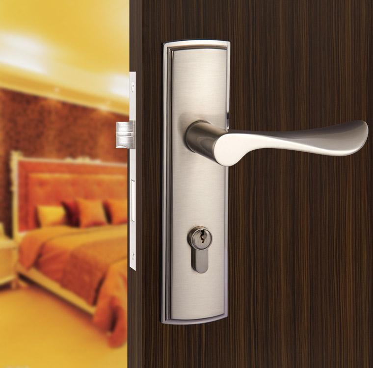 New aluminum material interior door lock Living Room Bedroom Bathroom door handle lock free shipping(China (Mainland))