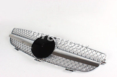 ABS All Chrome Mesh Grill ,Car Front Hood Grill Grille Fit For Mercedes Benz C209 W209 CLK Class 04-09(China (Mainland))