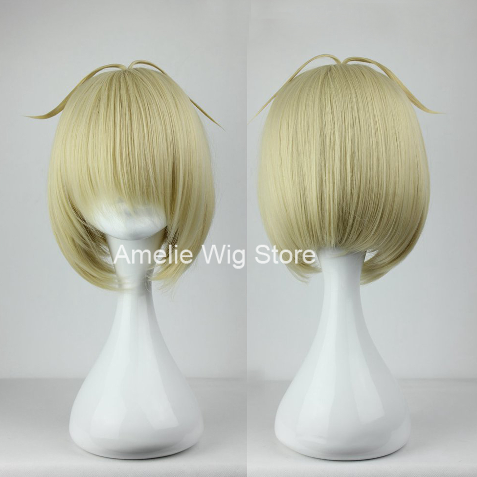 2015 new style14'' short Blue Exorcist anime cosplay wigs best buy 35cm Short Ao no Exorcist-moriyama shiemi Gold Anime Cosplay(China (Mainland))