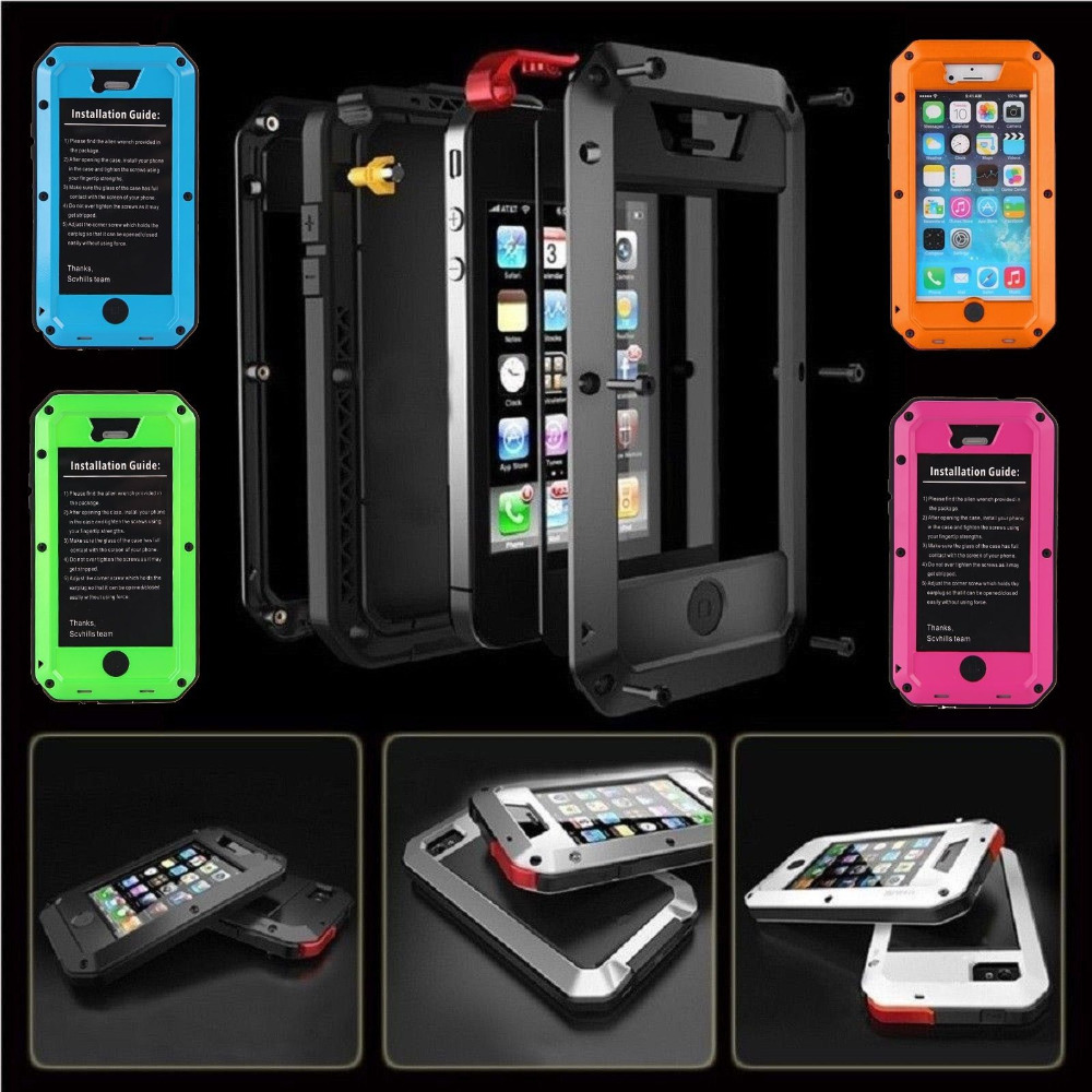 WATERPROOF ALUMINUM GORILLA GLASS METAL COVER CASE FOR iPHONE 4/4s BEST COLORS / PRICE / QUALITY -- W/ FAST FREE SHIPPING(China (Mainland))