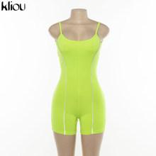 Kliou 2019 kobiety sexy bez ramiączek playsuit neon kolor obcisłe body odblaskowe w paski patchwork pasek backless fitness strój(China)