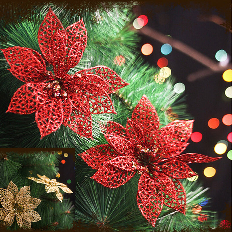 Christmas Tree Decoration With Flowers : New inch christmas artificial flowers xmas tree