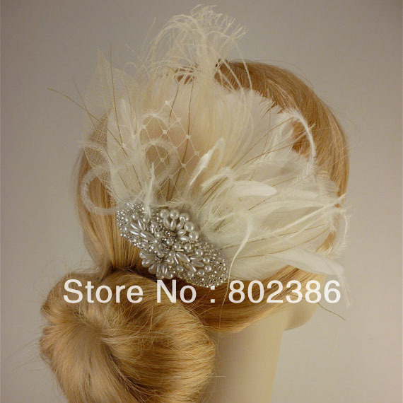 Ivory Feather Bridal Pearl Center Flower hair fascinators for weddings(China (Mainland))