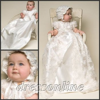 Cheap Custom Made Lovely White and Ivory Lace Baby Clothing Dress Christening Gowns With Hat Long Gown