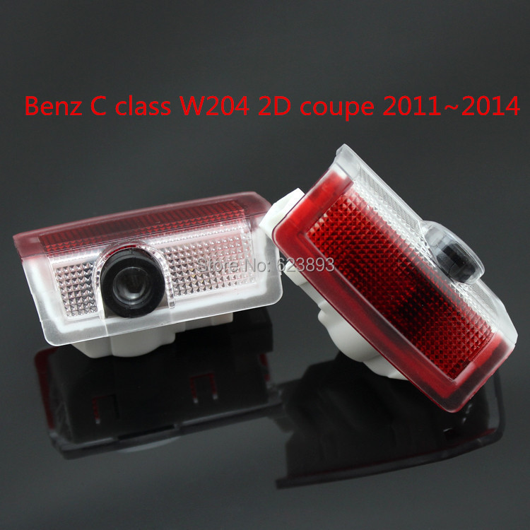 Free shipping,For Benz C class W204 2D coupe 2011~2014 2 x Laser LED Door courtesy Shadow Projector Light(China (Mainland))