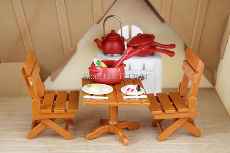 Mini Doll House Furniture 1_12 OEM Miniature Dining Table with Cooking Accessory for Sylvanian Families Dolls Kids Children(China (Mainland))