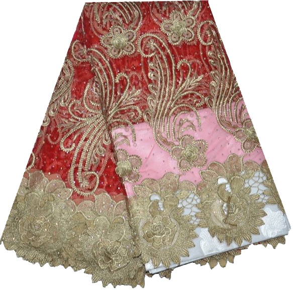 Gold Lurex Swiss cotton lace African lace fabric big lace Wed 5 Yards/Lot Polyester Mesh Red French Net Lace With Stones F4-124(China (Mainland))
