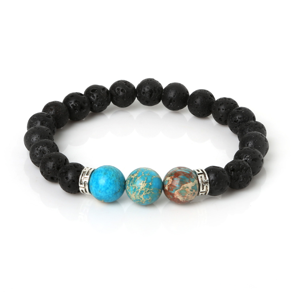 New Products Wholesale Lava Stone Beads Natural Stone Bracelet, Men Jewelry, Stretch Yoga Bracelet(China (Mainland))