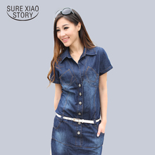 Buy New Female/Ladies Casual Denim Dress Plus Size Vintage Jeans Dresses Short Sleeve Blue 2017 Fashion Women Summer Spring for $18.25 in AliExpress store