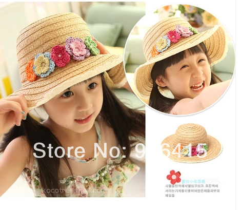 New 2014 Summer Sun Hat red pink blue yellow colorful Girls Kids Beach Lace Hats Flower Straw Hat Cap Tote Hats(China (Mainland))