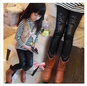 Гаджет  New fashion 2014 winter Kids Girl Thick warm Leggings leather Pencil children Pants Little feet trouseres 1 piece free shipping None Детские товары