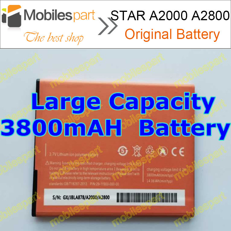 STAR A2000 Battery 100% Original 3800mAh lithium-ion Replacement Back-up Battery for STAR A2000 A2800 Smartphone Free Shipping(China (Mainland))