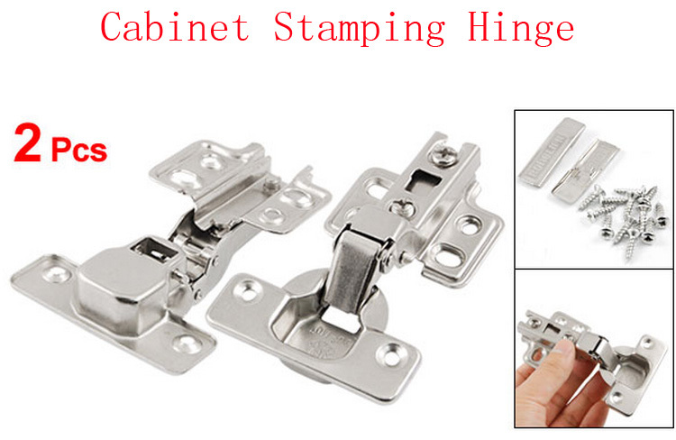 2 Pcs Silver Tone Furniture Hardware Self Closing Closet Drawer Cabinet Stamping Hinge(China (Mainland))