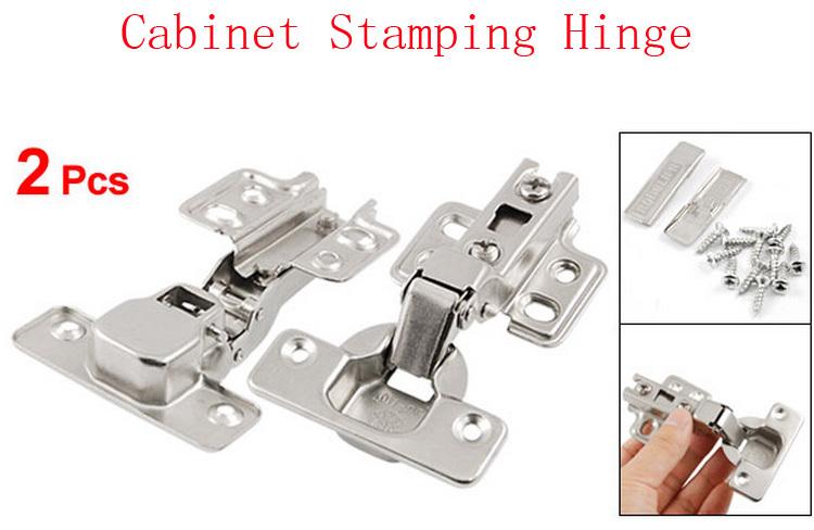 2 Pcs Silver Tone Furniture Hardware Self Closing Closet Drawer Cabinet Stamping Hinge(China (Mainland))
