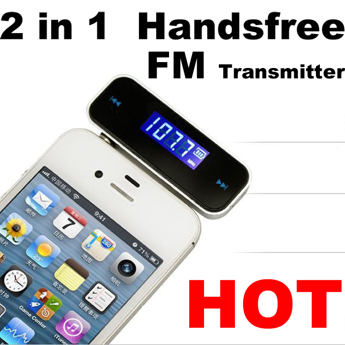 Best Quality Factory Wholesale Free Shipping Wireless 3.5mm Car FM Transmitter For All Mobile Phone MP3 MP4 CD Radio AM FM GPS(China (Mainland))
