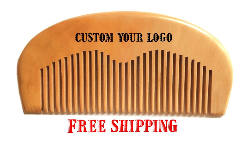 Customized Engraved Your Logo Natural Peach Wooden Comb Beard Comb Pocket Comb 11.5*5.5*1cm FH-02(China (Mainland))