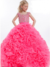 Custom Girls Set Auger Dresses Ball Gown Stage Performance Long Dress Princess Party Dress Flower Girls 2-16 Age Kids Dresses