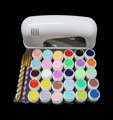 Pro 9W White UV Lamp Cure Dryer 30 Color Pure UV GEL Brush Nail Art Set