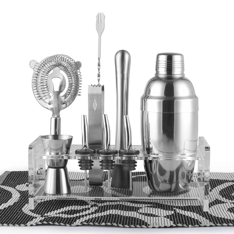 Barware / Gift Set, Cocktail Shaker Set / 10 Pieces includes Tin, Jigger, Ice Tong, Strainer, Rack, Pourer, Muddler & Spoon(China (Mainland))